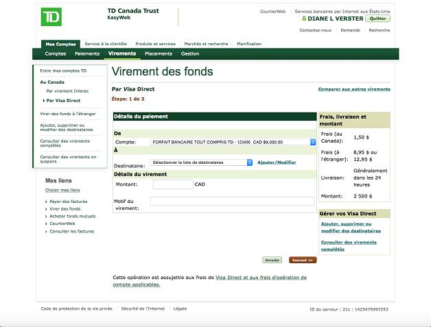 Visa direct virer des fonds en ligne td canada trust - Les 3 suisses mon compte ...