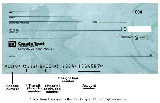 TD Canada Trust - Sample Cheque