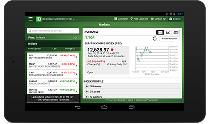 Make trades and view real-time quotes with your tablet