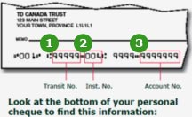 td bank account on cheque