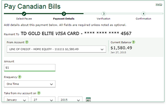 how to pay credit card bill online td
