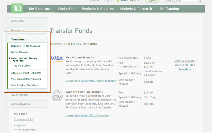 From The Top Menu Select Transfer Funds Then Left Hand International Money Transfers By Visa Direct