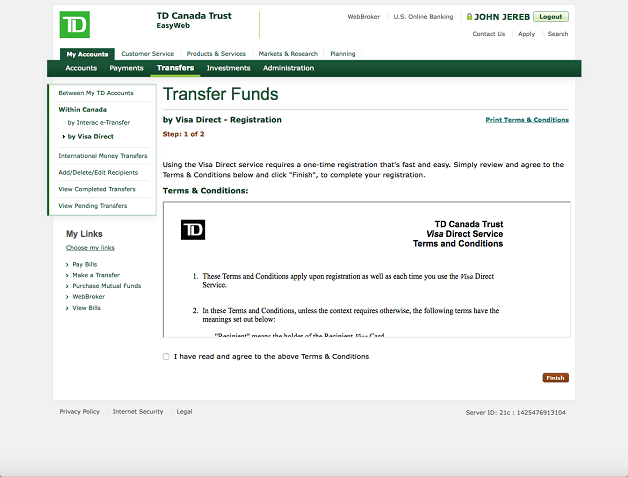 Visa direct send money online td canada trust