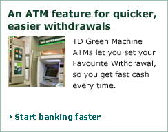 A customer using the TD Green Machine ATM