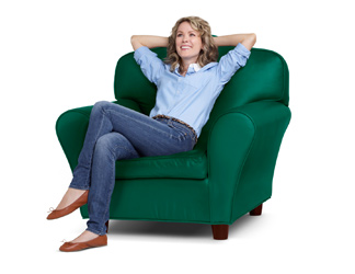 Woman smiling, sitting in a TD chair