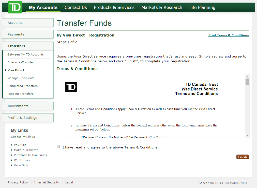 Td bank details for wire transfer efcaviation