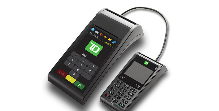 Secure and efficient countertop POS device with colour touchscreen and external PINpad.