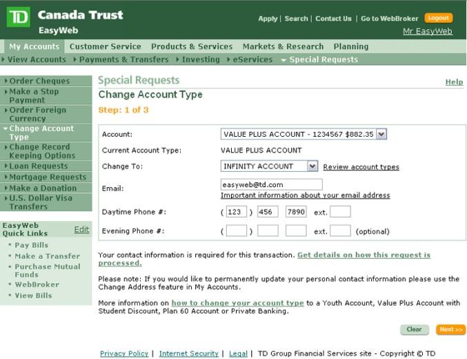b>EasyWeb Tour</b> - Personal Banking - Change Account Type
