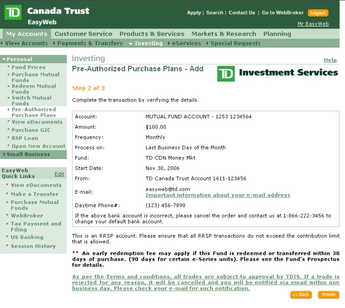 how to cancel td preauthorized